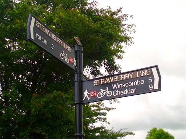 Strawberry Line signposts at Congresbury